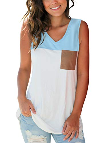 SMALOVY Basic V Neck Tank Tops Color Block Tunic Tee Blouse with Suede Pocket Light Blue L