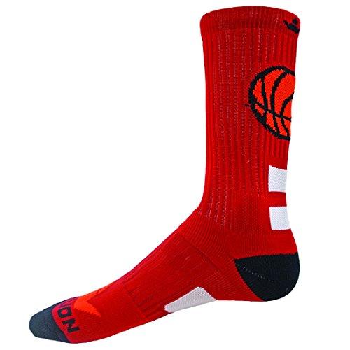 Red Lion Socks Baseketball Fast Break Crew Athletic Socks (Red/Black - Medium)