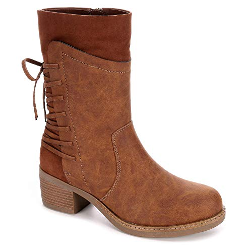 Limelight Womens Karina Mid Calf Boot Shoes, Cognac, US 8