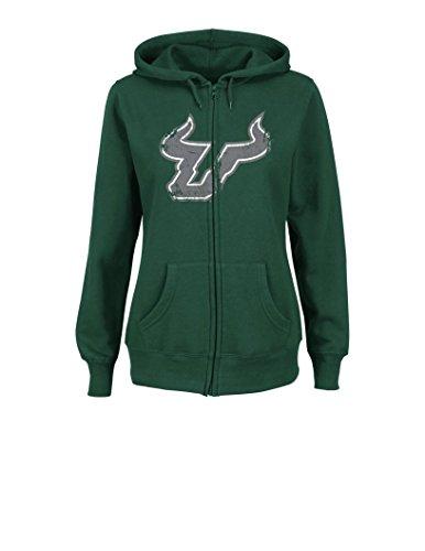 (VF LSG NCAA South Florida Bulls Women's Sudden Victory Long Sleeve Full Zipper Fleece Hoodie, Small, Green )