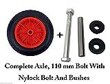 PU 14 Puncture Proof RED Wheelbarrow Wheel Tyre 3.50 - 8 foam filled + AXLE by Keto Plastics