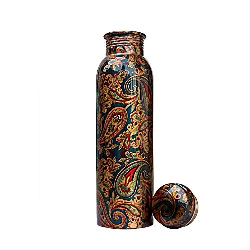 Mundal Pure Copper Water Bottle – Reusable Hand Printed Bottles | Perfect Ayurvedic Copper Vessel for Sports, Fitness, Yoga, Natural Health Benefits (33 Ounce, Floral Indian Green) Price & Reviews