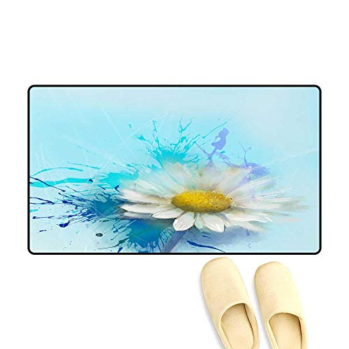 Antiskid Doormat Daisy Flowers Painting Abstract Flower Oil Painting ()