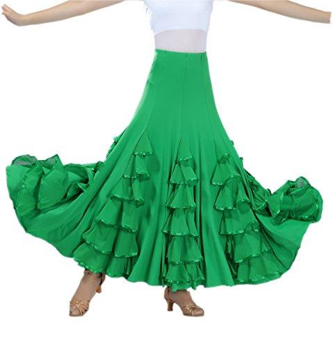 CISMARK Ballroom Dancing Waltz Dance Salsa Tango Swing Skirt for Women Green One Size ()