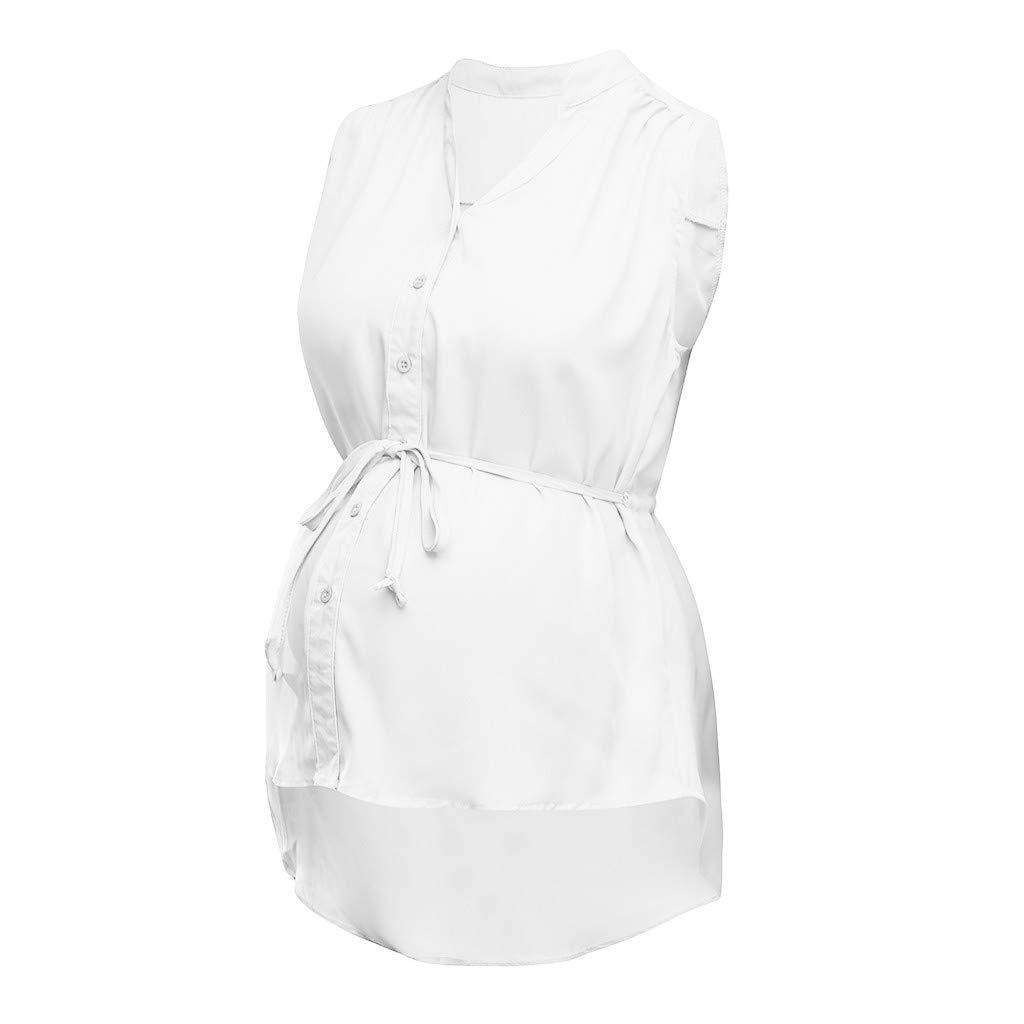 Moonuy Femmes D/ét/é T-Shirt Enceinte Col en V Bouton De Maternit/é Tops Dames Blouse dallaitement sans Manches Chemise Allaitement Solide pour Femmes avec Ceinture