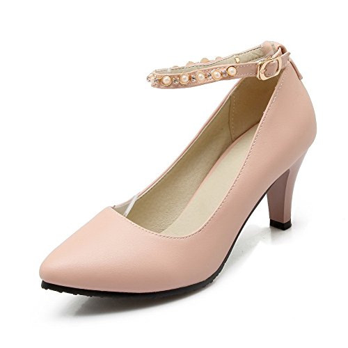 VogueZone009 Women's High-Heels Solid Buckle Soft Material Pointed Closed Toe Pumps-Shoes Pink IqhWouPB7y
