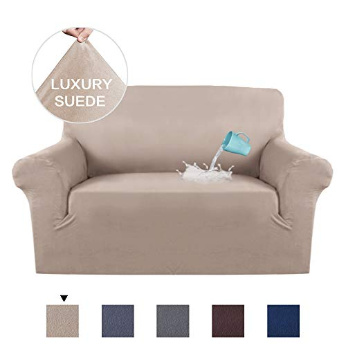 - H.VERSAILTEX High Stretch Velvet Plush Sofa Cover Machine Washable Stylish Furniture Cover/Protector with Suede Plush Pattern Slipcover (Loveseat, Sand)