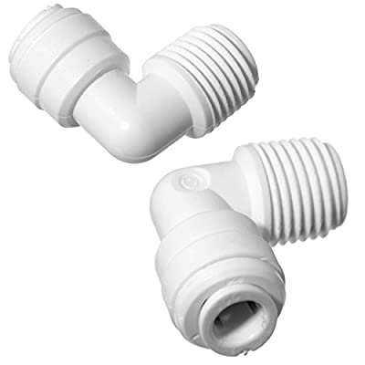 """iSpring 4044KX2 OD x 1/4"""" NPTF Fixed Elbow Quick Connect RO DI Reverse Osmosis Drinking Water, 1/4"""" x 1/4"""", White, 2 Piece"""