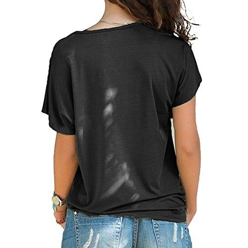 Irregolare Shirt Forti Camicetta Estivo Tumblr Spalle Donna Tinta Scoperte T Nero Maglietta Unita Pullover Estive Manica Taglie Corta Monospalla Sweatshirt Top Maglietta Moda Bluse Elegante BienBien UCZXwaqZ