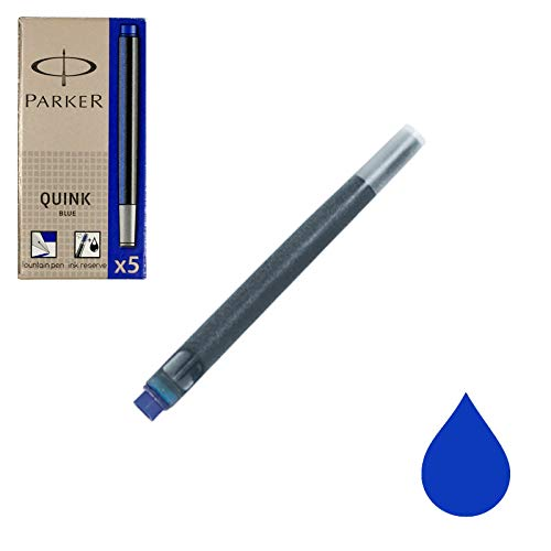 Parker S0116210 Quink Fountain Pen Refills, Long Cartridges Box of 5