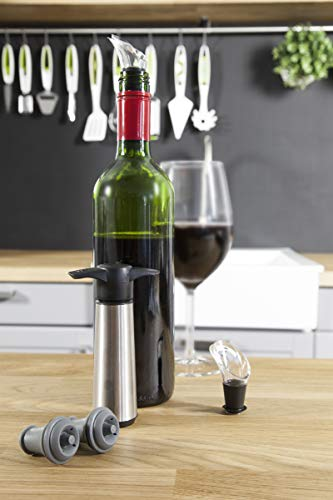 The Original Vacu Vin Wine Saver with 2 Vacuum Stoppers and 2 Wine Servers - Stainless - Accesories Server