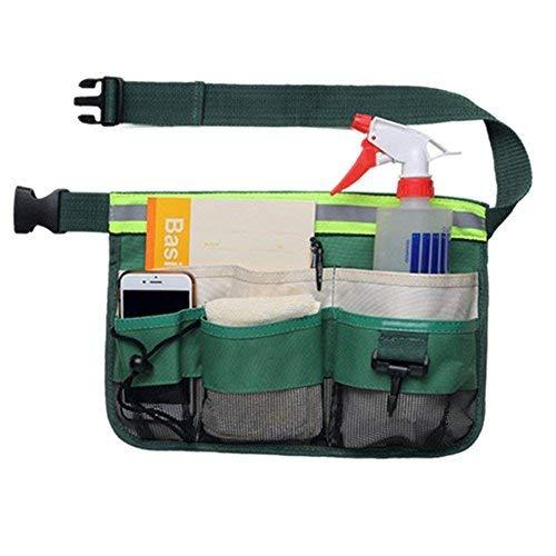 QEES - Cinturón de herramientas de jardinería Oxford ajustable con cinturón de cintura para hombre/mujer, bolsa de...