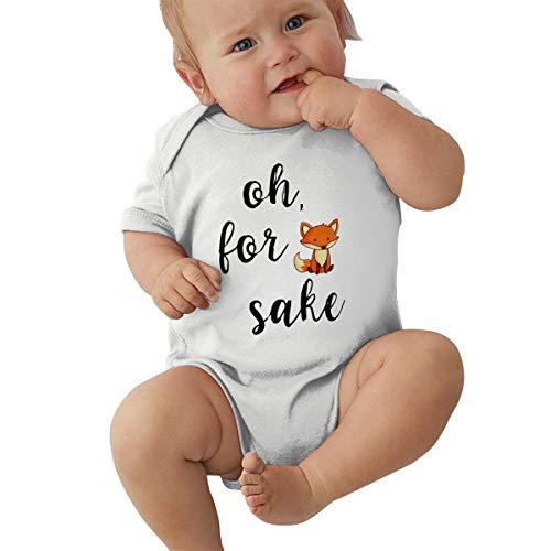 Short Sleeve Cotton Rompers for Baby Girls Boys, Soft Oh for Fox Sake Sleepwear White ()
