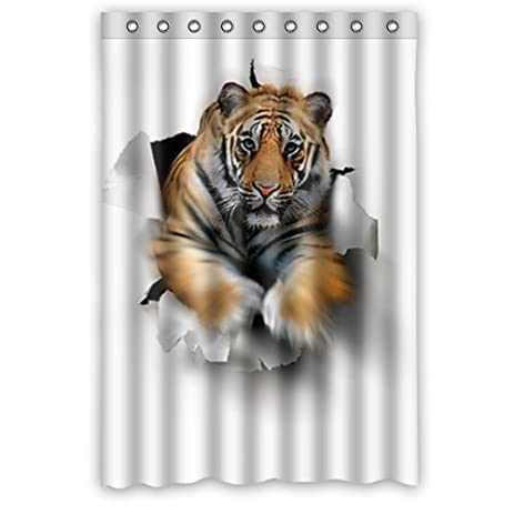 Animal Shower Curtains   Tiger Jump Out ArtPolyester Fabric Waterproof Shower  Curtain 48u0026quot; ...