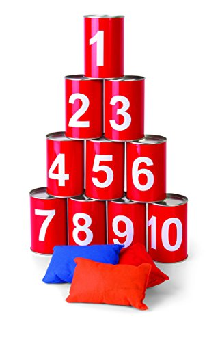 Carnival Bean Bag Can Toss Game - Circus Party Game Great For BBQs, Kids Birthday Parties - W/ 10 Real Tin Cans and 3 Beanbags by Ideas In (Indoor Carnival Games)