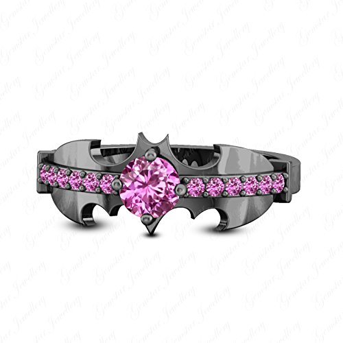 (Gemstar Jewellery Harley Quinn Designer Batman Ring Round Cut Pink Sapphire 14K Black Gold Finish)