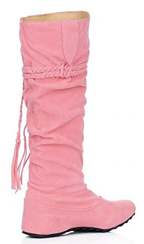 Heighten Fashion Knee IDIFU Fringes Boots Slouchy High Womens Pink q7r6n7