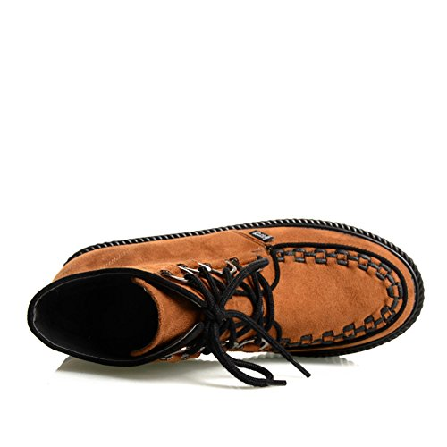 c311cc4f9709b4 ... RoseG Damen Schnürsenkel Flache Plateauschuhe High Top Creepers Boots  Orange ...
