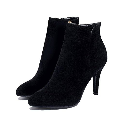 Solid Black top Low AgooLar Boots Pointed Frosted Closed Heels High Toe Women's wwfOxzqZF