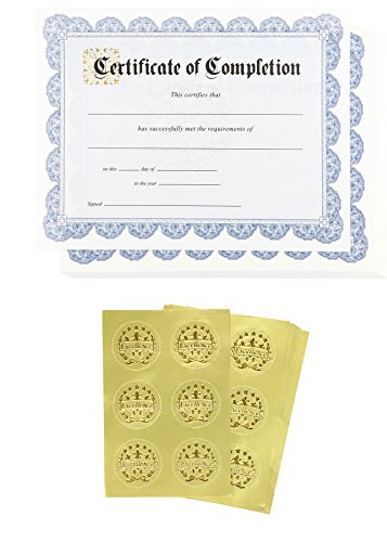Certificate Paper - 48 Certificate of Completion Award Certificates with 48 Excellence Gold Foil Seal Stickers, for Student, Teacher, Professor, Blue, 8.5 x 11 Inches