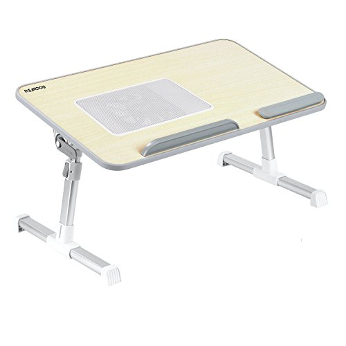 Laptop Bed Tray Table, Nearpow Adjustable Laptop Bed Stand, Portable Standing Table with Foldable Legs, Foldable Lap Tablet Table for Sofa Couch Floor (Beige With Cooling Fan - Large Size) - Foldable Cooling Laptop Table