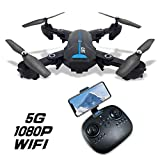 5G FPV GPS Drone Foldable Auto Return Home with 1080P HD Wide Angle Camera Live Video Follow Me Altitude Hold Headless Mode RC Quadcopter for Kids and Adults