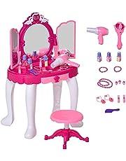 Qaba Children Dressing Table Set Girls Pretend Princess Vanity Table Chair