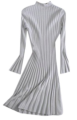 Light Cruiize Solid Color Claasic Knits Long Pleated Womens Stretch Midi Sleeve Gray Dress qxqPpS