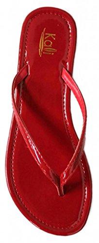 Kali Chaussures Femmes Jumeaux Basique Brevet Plat String Sandale Rouge