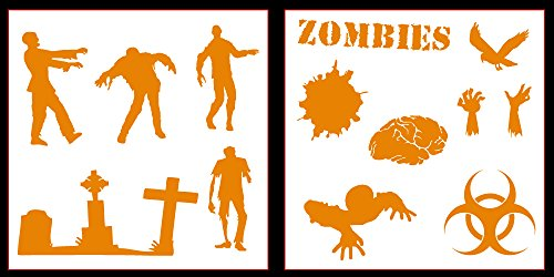 Auto Vynamics - STICKERPACK-ZOMBIES-20-GORG - Gloss Orange Vinyl Detailed Zombie / Undead Sticker Pack - Features Several Different Zombie Designs & More! - 20-by-20-inch Sheets - (2) Piece Kit - Themed Set ()