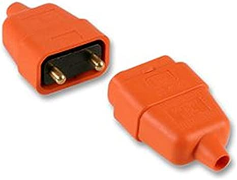 2 Pin Orange Rubber Plug and Socket Power Connector 10A In Line For Lawnmower