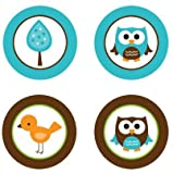 Baby Owls {Blue & Brown} Edible Cupcake Toppers Decoration