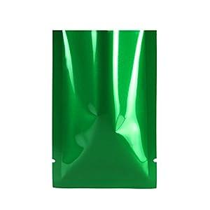 "QQ Studio 100 PCS Metallic Mylar Foil Open Top Sealable Bags (10x15cm(3.9x5.9""), 100x Dark Green)"