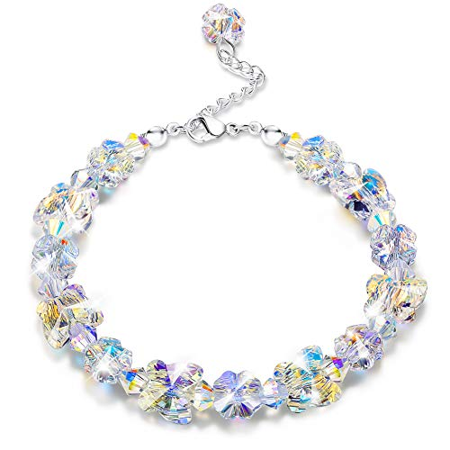 "KesaPlan Crystals Bracelets, Crystals from Swarovski, Butterfly Shaped Aurora Crystals Bracelets for Women Girls Link Chain Bracelets, Jewelry Gift for Christmas Day, 7""+2"""