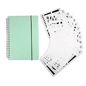 Asery 12Pcs Bullet Journal Stencil Set With Dot Grid Notebook For Journal/Notebook/Diary/Card/Scrapbooking Scrapbook Diy Drawing Template Stencil
