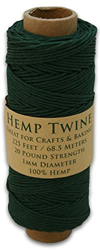 225 Foot Spool of 1mm 100% Hemp Twine Bead Cord In Your Choice of Color (Hunter (Green Hemp Cord)