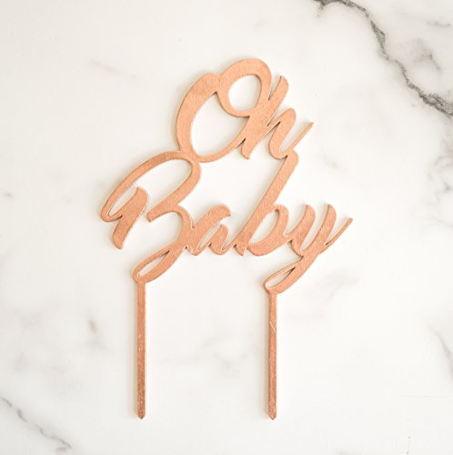 Cake Topper Metallic (Rose Gold, Oh Baby) by Cake Topper