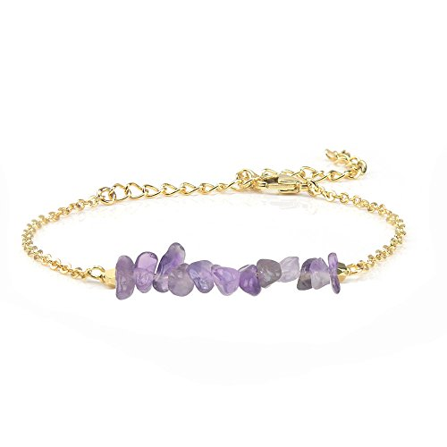 Jeka Amethyst Gemstone Stone Bracelet for Women Girls Natural Purple Crystal Bar 18K Gold Chain Jewelry Dainty Gifts for Valentine's Day Birthday