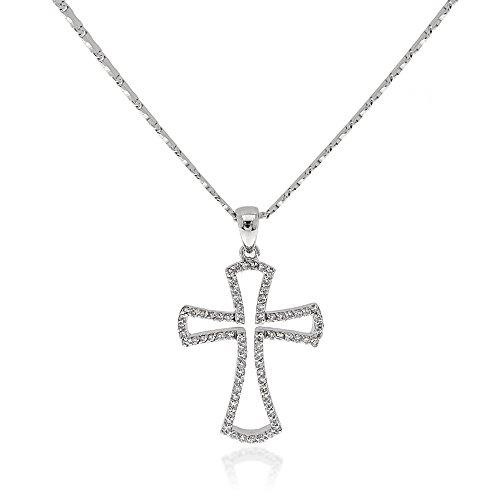 Gioiello Italiano - 14kt white gold necklace with 0.36ct diamonds