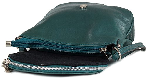 Bolso bandolera cuero napa pequeño - bolso de noche blando (20 x 17 x 7 cm) Azul (Azul Petróleo)