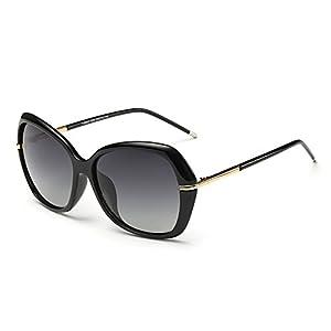 DONNA Women's Classic Oversized Polarized Sunglasses Super Big Circle Shades Ultralight D72(Black)