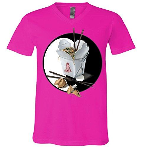 V-Neck T-Shirt: Yin Yang Takeout Chinese Neon Pink Large