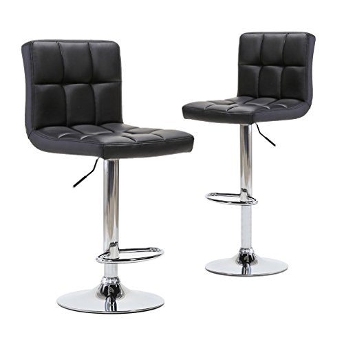 Chiming Classic Black PU Leather Height Adjustable Swivel Pub Chair Bar Stools, Set of 2 - Classic 30 Inch Directors Chair