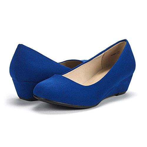 Paires De Rêve Femmes Debbie Milieu Talon Talon Pompe Chaussures Bleu Royal