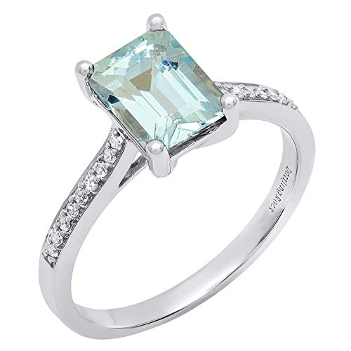 Dazzlingrock Collection 10K 8X6 MM Emerald Aquamarine & Round White Diamond Ladies Engagement Ring, White Gold, Size 7