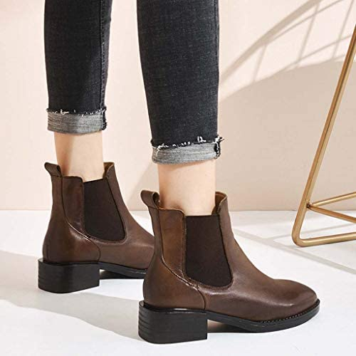 MSSugar Women's Boots Chunky Heel Square Toe Booties/Ankle Boots Fashion Comfort Boots Fall & Winter Black/Brown,B1,37