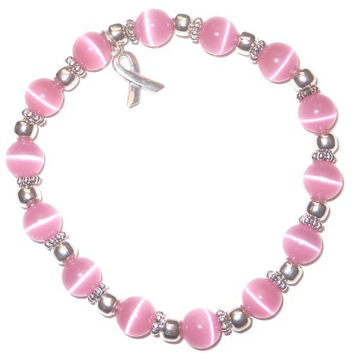 Stretchy Pink BREAST Cancer Packaged Awareness Bracelet- (Bali Daisy Strand)