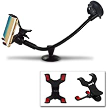 IPOW Truck Phone Mount Holder Universal 11 Inches Long Arm Windshield Dashboard Car Mount Cradle with Adjustable X Clamp&Ultra Dashboard Base for Smartphones
