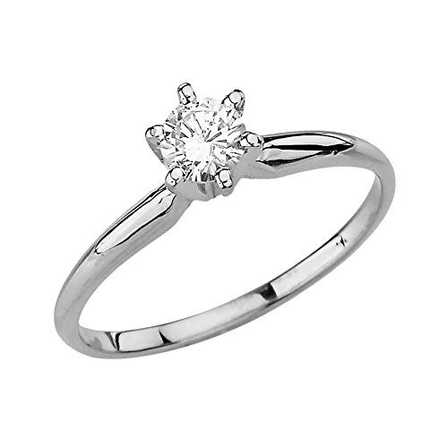 Diamond 10 Ct Solitaire (Elegant 10k White Gold Diamond Proposal/Engagement Solitaire Ring (Size 4.25))