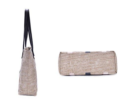 YUYO - Bolso al hombro de Lona para mujer Off-white Vertical Stripes